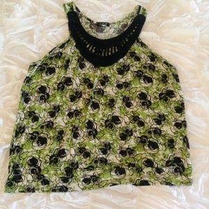 Green & Black Patterned Tank Top W/ Crochet Neck